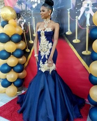 Sexy Navy Blue Mermaid Prom Dresses   High Neck Appliques Evening Dresses SK0154_3