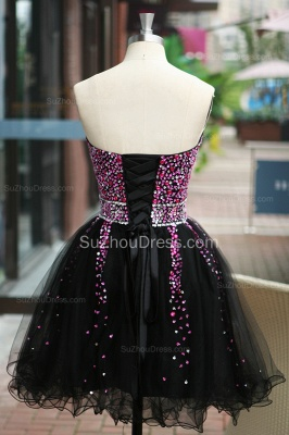 Black Prom Dresses Sweetheart Crystal Ruched A Line Sleeveless Lace Up Organza Short Evening Gowns BA7306_8