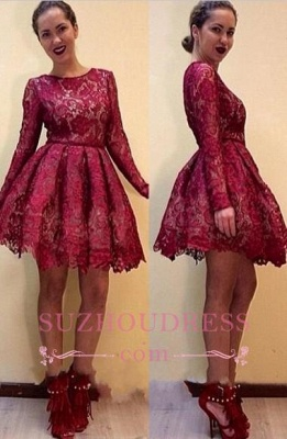 Short Elegant Long-Sleeves Burgundy A-line Lace Homecoming Dresses_2