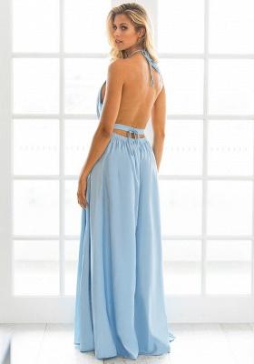 Halter Chiffon Summer Beach Party Dresses Backless Slit Long Evening Gowns_6