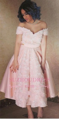 Off-the-Shoulder Pink Elegant Appliques A-Line Prom Dress_3