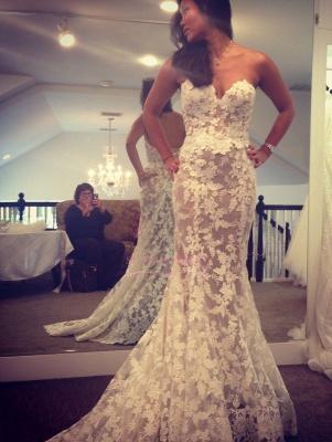 A-line Lace Elegant Sweetheart White Wedding Dresses_1