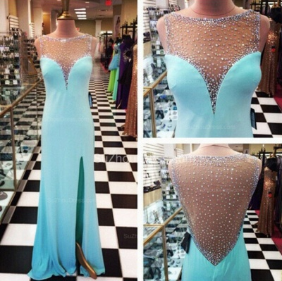 Bateau A-Line Sexy Prom Gowns  Side Slit Sweep Train Evening Dresses with Beadings_2