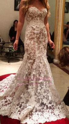 A-line Lace Elegant Sweetheart White Wedding Dresses_6