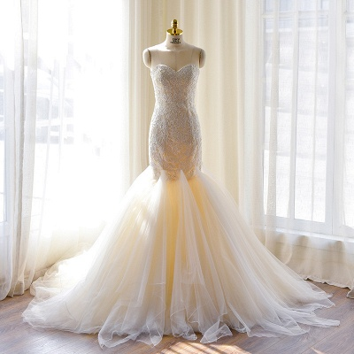 Sexy Mermaid Sweetheart Tulle Long Wedding Dress Court Train Lace-Up Plus Size Bridal Gown_2