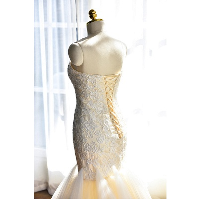 Sexy Mermaid Sweetheart Tulle Long Wedding Dress Court Train Lace-Up Plus Size Bridal Gown_4