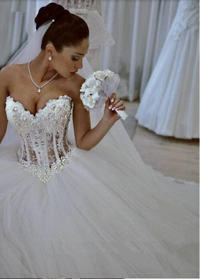Sparkly Crystal Ball Gown Corset Wedding Dress with Beadings Sweetheart Tulle Princess Bridal Gown_1
