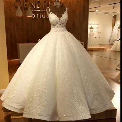 Vintage Sequins Sleeveless Wedding Dresses Spaghetti Straps Lace Bridal Gowns Online_5