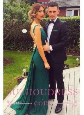 Sheath Backless Dresses Prom Elegant Scoop Green Peals Evening Dress_2