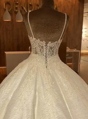Vintage Sequins Sleeveless Wedding Dresses Spaghetti Straps Lace Bridal Gowns Online_4