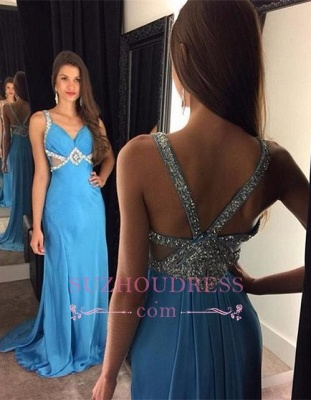 Blue Chiffon Prom Dresses  Sleeveless Crystals Long Evening Gowns_1