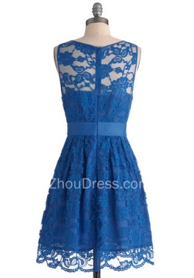 Lace Homecoming Dresses Royal Blue Jewel Sleeveless Short Zipper Sheer Prom Gowns_2