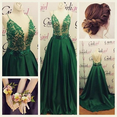 Dark Green Spaghetti Straps Prom Dresses  A-line Evening Gowns  BA3280_3