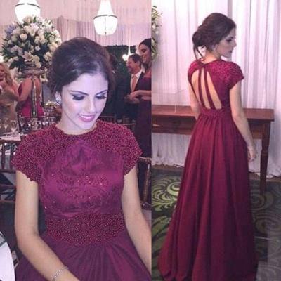 Beading A-Line Burgundy  Prom Dress Halter Short Sleeve Formal Occasion Dresses_1