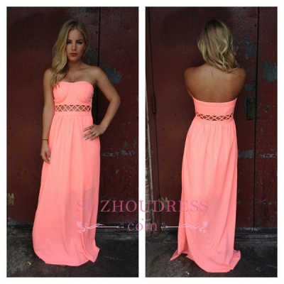 Floor-length Simple A-line Sleeveless Strapless Prom Dress_1