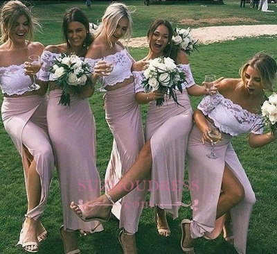 Two-Piece Short Side-Slit Chic Sleeves Pink Lace Bridesmaid Dresses_1