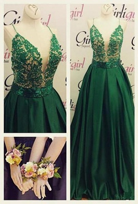Dark Green Spaghetti Straps Prom Dresses  A-line Evening Gowns  BA3280_1