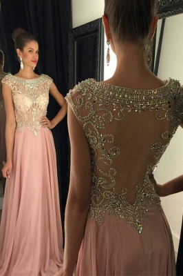 Jewel Pink Chiffon Prom Dress  With Rhinestone Popular Long Evening Dresses_1