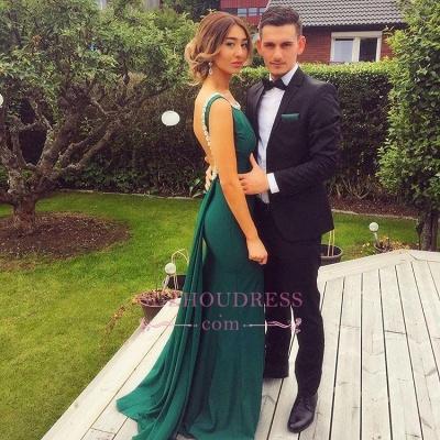 Sheath Backless Dresses Prom Elegant Scoop Green Peals Evening Dress_1
