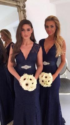 V-neck Navy Blue Lace Bridesmaid Dresses with Bowknot Sash | Sleeveless  Maid Of Honor Dresses_4