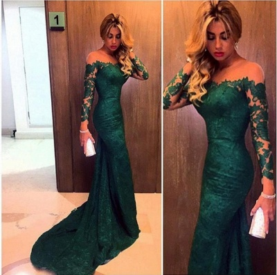Dark Green Prom Dresses Long Sleeve Lace Sheath Evening Gown Bag258_3