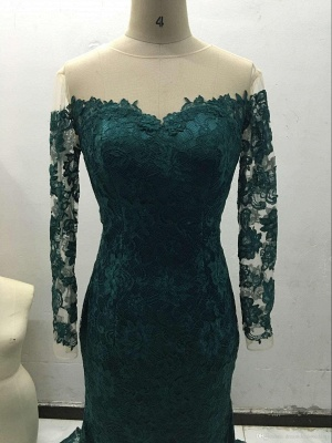 Dark Green Prom Dresses Long Sleeve Lace Sheath Evening Gown Bag258_5