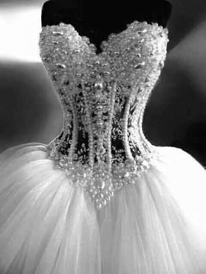 Sparkly Crystal Ball Gown Corset Wedding Dress with Beadings Sweetheart Tulle Princess Bridal Gown_2