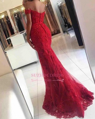 Glamorous Mermaid Lace Prom Dress  Off-the-shoulder Red Appliques Evening Dress_5