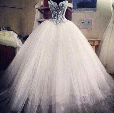Sparkly Crystal Ball Gown Corset Wedding Dress with Beadings Sweetheart Tulle Princess Bridal Gown_3