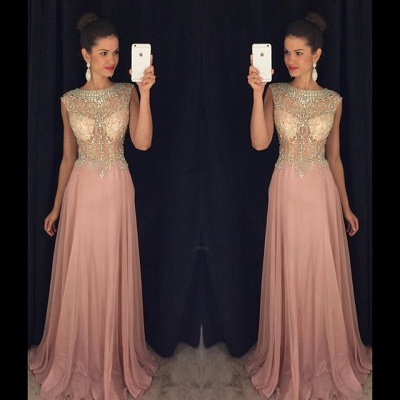 Jewel Pink Chiffon Prom Dress  With Rhinestone Popular Long Evening Dresses_3