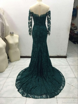 Dark Green Prom Dresses Long Sleeve Lace Sheath Evening Gown Bag258_4