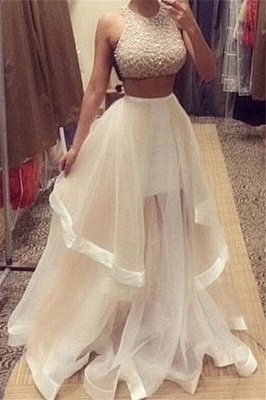 Champagne Two Piece Prom Dresses  Beading Organza Long Evening Gown_3