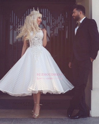 White Off-the-Shoulder Wedding Dress | Ball-Gown Ankle Length Bridal Gowns_1