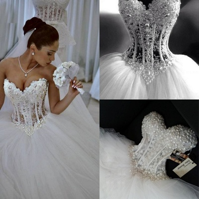 Sparkly Crystal Ball Gown Corset Wedding Dress with Beadings Sweetheart Tulle Princess Bridal Gown_4