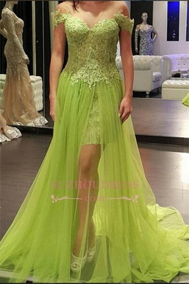 A-line Off-the-Shoulder Popular Tulle Lace Prom Dress_3