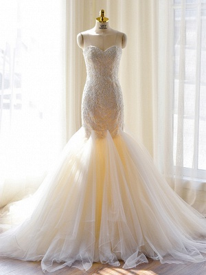 Sexy Mermaid Sweetheart Tulle Long Wedding Dress Court Train Lace-Up Plus Size Bridal Gown_1
