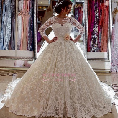 Sheer Church Train Lace  Ball Gown Bride Dress Sleeves Long Vintage Illusion Arabic Wedding Dress_1