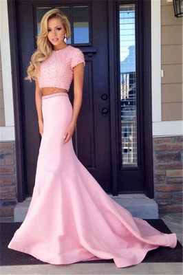 Pink Short Sleeve Two Piece Prom Dress  Mermaid Long Train Evening Dress with Beads CJ0439_1