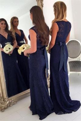 V-neck Navy Blue Lace Bridesmaid Dresses with Bowknot Sash | Sleeveless  Maid Of Honor Dresses_3