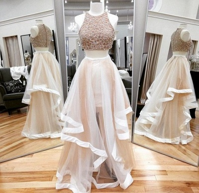 Champagne Two Piece Prom Dresses  Beading Organza Long Evening Gown_2