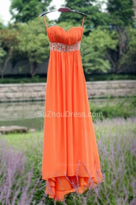 Orange Prom Gowns  Spaghetti Straps Sequined Beading Crystal Floor Length Backless Chiffon Evening Dresses_7
