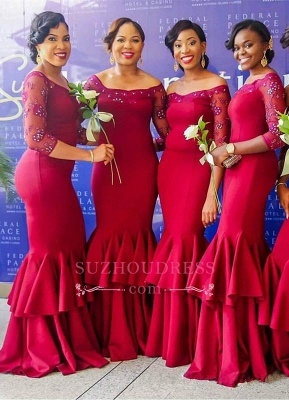 Beadings Tiered Red Off-the-Shoulder Mermaid Long-Sleeves Elegant Bridesmaid Dress_1