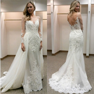 Open-Back Simple Appliques Sheath Long-Sleeves Tulle Wedding Dress_3
