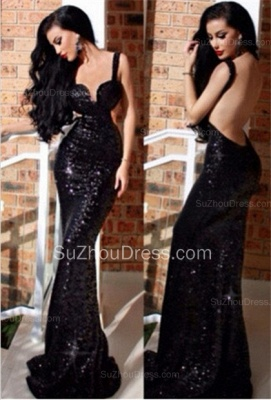 New Black Sequined Prom Dresses Mermaid Backless Sweetheart Sweep Train Prom Gowns_1