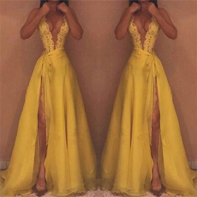 Deep V-neck Sexy Yellow Evening Dresses  | Side Slit Lace Sleeveless  Prom Dresses_3