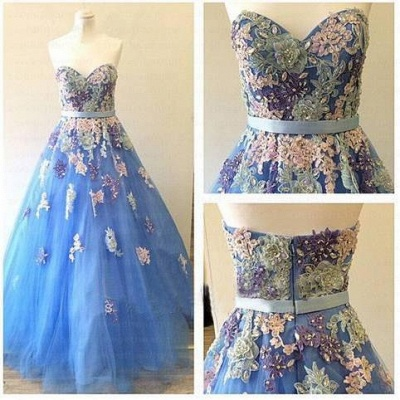 Sweetheart Colorful Lace Appliques Prom Dresses Sky Blue Evening Gowns for Princess_3