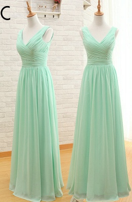 Light Green Ruffles Chiffon Long Bridesmaid Dress  Diverse Popular Dresses for Women_3