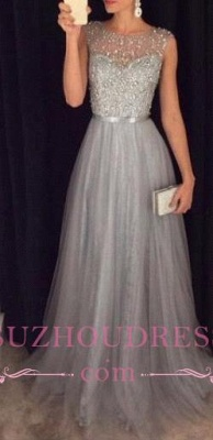 Sleeveless Elegant A-line Grey Tulle Prom Dresses  Sparkly Sequins Beaded Evening Gowns GA069 BA4581_3