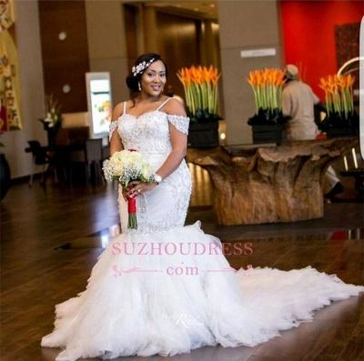 Mermaid Appliques Plus Size Bride Dress  Gorgeous Lace Cap-Sleeve Wedding Dress_1