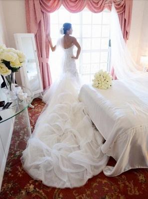 Gorgeous White Lace Church Wedding Dress Sweetheart Long Train Luxurious Bridal Dress_2